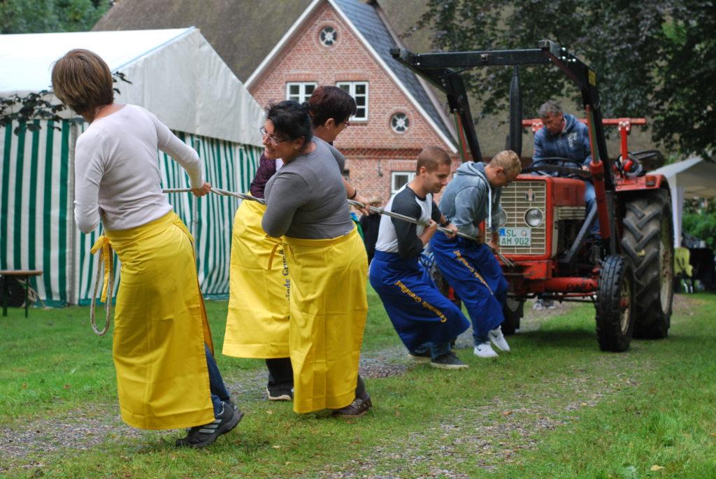 Fünf Personen ziehen mit aller Kraft an einem Seil, an dem ein alter Trecker befestigt ist.